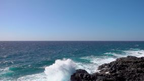 Strong waves of Atlantic ocean. Slow motion of splash stock video