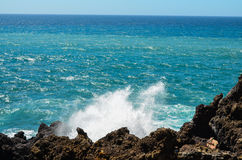 Strong Waves on the Blue Ocean Stock Photos