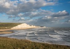 Seven Sisters chalk cliffs on stormy day stock photography