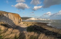 Seven Sisters chalk cliffs on stormy day royalty free stock image