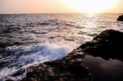 Strong Waves Crashing on the Volcanic Coast Royalty Free Stock Image