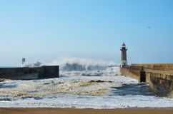 Strong waves hitting the coast Stock Images