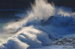 Strong waves hitting shore Stock Image