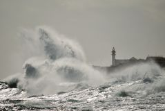 Strong waves and lighthouse, Gran canaria Royalty Free Stock Photo