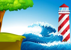 Strong waves near the lighthouse Royalty Free Stock Photo