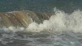Strong waves at South China Sea on Dadonghai Beach slow motion stock footage video stock footage
