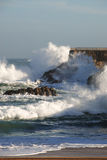 Strong waves. Storm on the Santander coast. Spain Stock Images