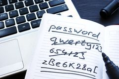 Strong and weak easy Password. Notepad and laptop. Strong and weak easy Password. Note pad and laptop royalty free stock photography
