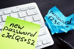 Strong and weak password on pieces of paper. Password security and protection. Concept stock image