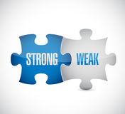 Strong and weak puzzle pieces sign illustration Royalty Free Stock Images