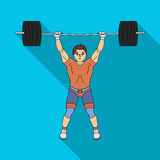 Strong weightlifter raises the bar in the gym.The athlete lifts a huge weight.Olympic sports single icon in flat style Stock Photos