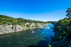 Strong White Water Rapids in Great Falls Park, Virginia Side Stock Images