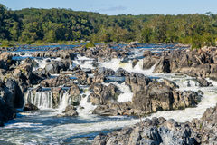 Strong White Water Rapids in Great Falls Park, Virginia Side Royalty Free Stock Image