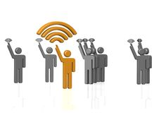 Strong Wi-Fi Signal. A 3D rendered artwork with white background stock illustration