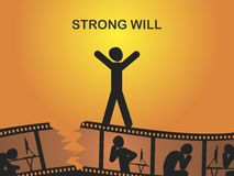 Strong will. Take willpower to get out of the crisis. Vector format Stock Image