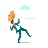 Strong wind Blowing on Man with Umbrella. Vector Royalty Free Stock Photo