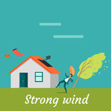 Strong Wind Destroying House and Killing Man Royalty Free Stock Photos