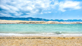 Strong wind is hitting coast of island Pag Royalty Free Stock Photos