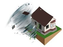 Strong wind hurricane ripped off roof of house. Home Insurance Royalty Free Stock Photography