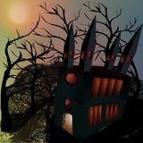 Illustration of witch gloomy house Royalty Free Stock Photo