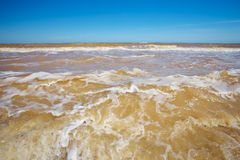 Strong wind making waves and sand from the bottom. Stock Photography