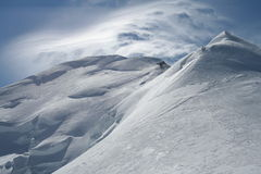 Strong wind over Mont Blanc Royalty Free Stock Images