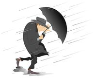 Free Strong Wind, Rain And Man With Hat And Umbrella Isolated Illustration Royalty Free Stock Photo - 125667575