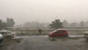 Strong wind, torrential or storm on city street. Powerful jets of rain fall on the asphalt. Moving and parked cars. Trees are swinging. Medium plan. Outdoors stock video footage