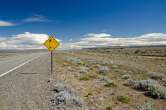 Strong wind traffic sign in Patagonia Stock Image
