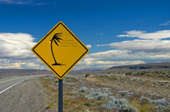 Strong wind traffic sign in Patagonia Stock Photography