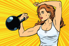 Strong woman athlete with weights. A strong woman athlete with weights pop art retro vector. Physical education and athletics. Swing muscles. The girl athlete vector illustration