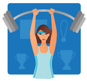 Strong woman with bar-bell. Strong woman building her muscles by lifting up heavy bar-bell Royalty Free Stock Photos