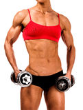 Strong woman with barbells Royalty Free Stock Image