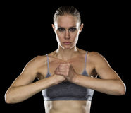 Strong Woman Cupping Fist with Hand stock image