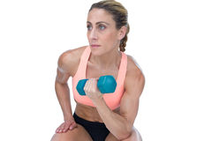Strong woman doing bicep curl with blue dumbbell Stock Image