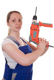 Strong woman with drilling machine Royalty Free Stock Photos