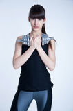 Strong woman with a dumbbell Stock Photography