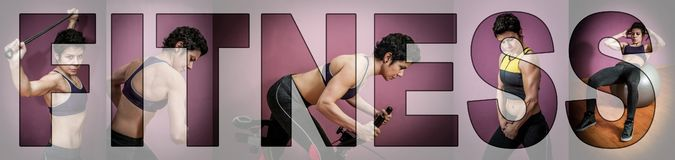 Strong woman exercising in a gym. Letters FITNESS over the collage. Collage of a strong woman exercising in a gym. Letters FITNESS over the collage stock images