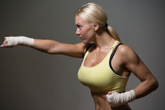 Strong Woman Mixed Martial Arts Fighter Stock Image