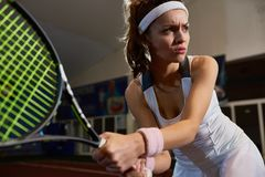 Strong Woman Playing Tennis stock photo