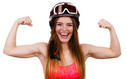 Strong woman with sporty helmet. Royalty Free Stock Photography