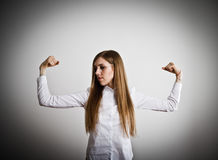 Strong woman. Woman in white. Strong woman concept Royalty Free Stock Images