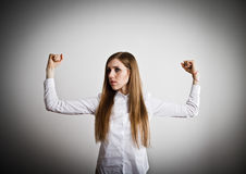 Strong woman. Woman in white. Strong woman concept Stock Photo