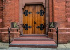 Wooden Entrance Doors Stock Photo
