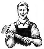 Strong worker with a hammer. Strong smiling laborer holding a hammer. Black and white ink illustration Royalty Free Stock Photos