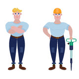 A strong worker with a jackhammer. And a helmet or standing with his arms crossed. A man of muscle with arms crossed in a T-shirt and jeans Royalty Free Stock Image