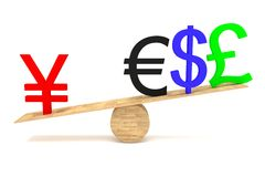 Strong Yen: currencies on a wooden seesaw Stock Image