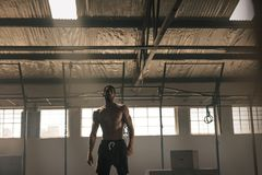 Strong young man with muscular body in gym. Strong young man with muscular body standing in the gym. Sportsman after intense crossing training workout in gym Stock Photography