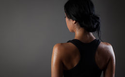 Strong young woman wearing sports bra Stock Image