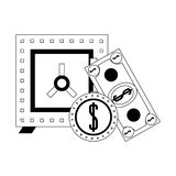 Strongbox with billet and coin isolated. In black and white vector illustration vector illustration